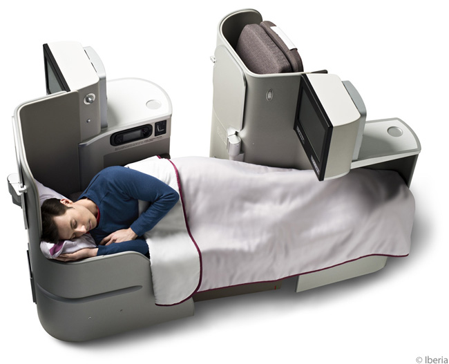 This is how the flat-bed seats in Iberia's A330-300 business-class cabins look when fully reclined