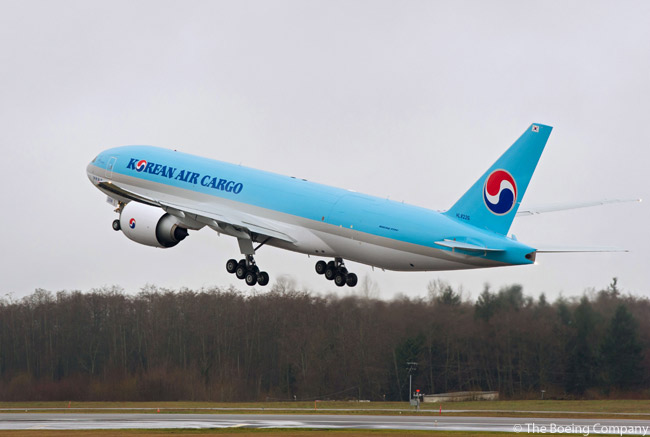 On February 25, 2013, Boeing delivered the first 777 built at the increased production rate of 8.3 per month, or 100 airplanes per year. The aircraft, a Boeing 777 Freighter, was delivered to Korean Air