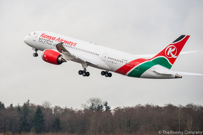 On April 4, 2014, Kenya Airways took delivery of first Boeing 787, a 787-8. The aircraft then departed Paine Field in Everett, Washington, on a 7,800-nautical mile (14,456-kilometer) non-stop flight to Kenya Airways' home base at Nairobi's Jomo Kenyatta International Airport. Pictured here is Kenya Airways first 787 on a pre-delivery test flight