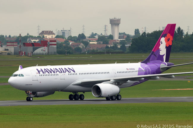 A new Hawaiian Airlines Airbus A330-200 lands at Le Bourget Airport in Paris for static display during the 2013 Paris Airshow